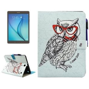 For Samsung Galaxy Tab A 9.7 / T550 Glasses Owl Pattern Horizontal Flip Leather Case with Holder & Wallet & Card Slots & Sleep / Wake-up Function & Pen Slot