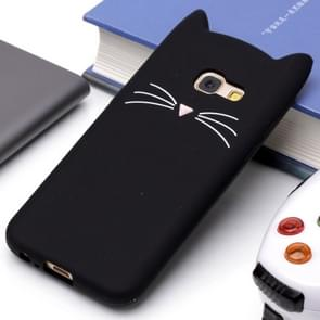 Voor Samsung Galaxy A3 (2017) siliconen Cat Whiskers patroon beschermings Back Cover hoesje(zwart)