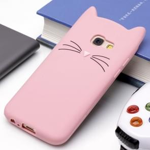 Voor Samsung Galaxy A3 (2017) siliconen Cat Whiskers patroon beschermings Back Cover hoesje(roze)