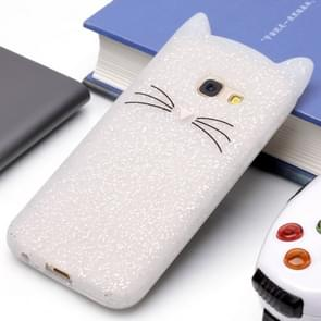 Voor Samsung Galaxy A3 (2017) siliconen Cat Whiskers patroon beschermings Back Cover hoesjewit