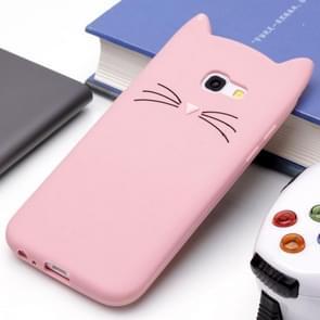 Voor Samsung Galaxy A5 (2017) siliconen Cat Whiskers patroon beschermings Back Cover hoesje(roze)
