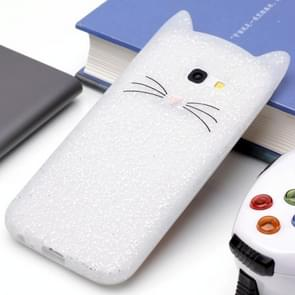 Voor Samsung Galaxy A5 (2017) siliconen Cat Whiskers patroon beschermings Back Cover hoesjewit