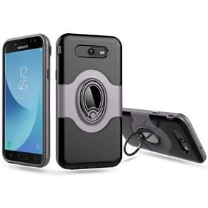For Samsung Galaxy J7 (2017) (US Version) Dropproof Full Coverage Protective Case Cover with Magnetic Rotatable Ring Holder (Grey)