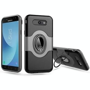 For Samsung Galaxy J7 (2017) (US Version) Dropproof Full Coverage Protective Case Cover with Magnetic Rotatable Ring Holder (Silver)