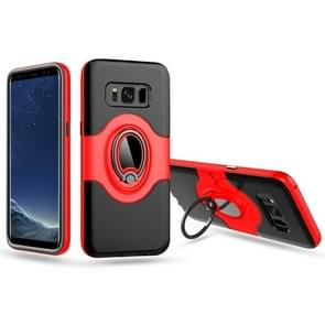For Samsung Galaxy S8 / G950 Dropproof Full Coverage Protective Case Cover with Magnetic Rotatable Ring Holder (Red)
