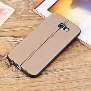 For Samsung Galaxy A7 (2017) Plain Weave Texture Leather Surface Protective Back Cover Case (Brown)
