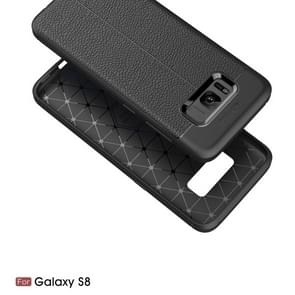 For Galaxy S8 Litchi Texture TPU Protective Back Cover Case (navy)