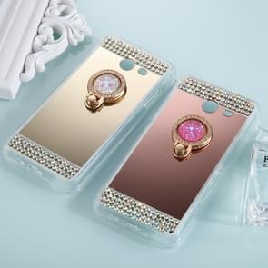 For Samsung Galaxy J3 (2017) (US Version) Diamond Encrusted Electroplating Mirror Protective Cover Case with Ring Holder(Gold)
