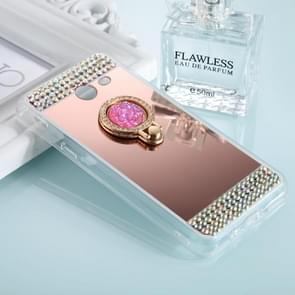 For Samsung Galaxy J3 (2017) (US Version) Diamond Encrusted Electroplating Mirror Protective Cover Case with Ring Holder(Rose Gold)