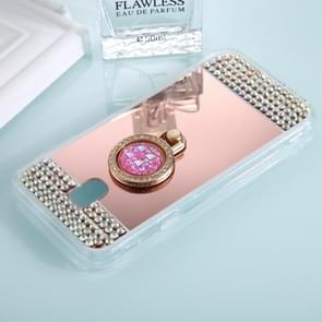For Samsung Galaxy J3 (2017) (EU Version) Diamond Encrusted Electroplating Mirror Protective Cover Case with Ring Holder(Rose Gold)