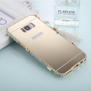 For Galaxy S8+ / G9550 Pearl Chain Pendant Diamond Encrusted Electroplating Mirror PC Protective Cover Case(Gold)