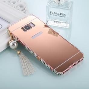 For Galaxy S8+ / G9550 Pearl Chain Pendant Diamond Encrusted Electroplating Mirror PC Protective Cover Case(Rose Gold)