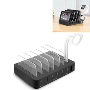 Multi-function DC5V/10A (Max) Output 6 Ports USB Detachable Charging Station Smart Charger, For iPad , Tablets, iPhone, Galaxy, Huawei, Xiaomi, LG, HTC and Other Smart Phones, Rechargeable Devices(Black)