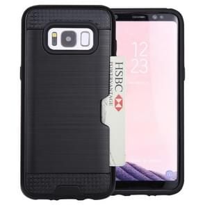 For Samsung Galaxy S8 with credit card slot holder TPU+PC mobile phone covers(Black)