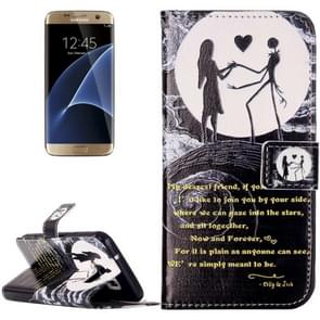 For Samsung Galaxy S7 / G930 Rilievo Carving Lovers on the Moon Pattern Horizontal Flip Leather Case with Magnetic Buckle & Holder & Card Slots & Wallet