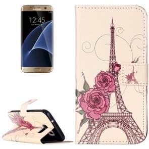 For Samsung Galaxy S7 / G930 Rilievo Carving Rose Tower Pattern Horizontal Flip Leather Case with Magnetic Buckle & Holder & Card Slots & Wallet