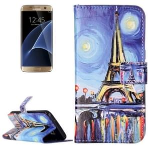 For Samsung Galaxy S7 / G930 Rilievo Carving Canvas Tower Pattern Horizontal Flip Leather Case with Magnetic Buckle & Holder & Card Slots & Wallet
