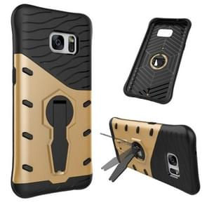 For Samsung Galaxy S7 / G930 Shock-Resistant 360 Degree Spin Tough Armor TPU+PC Combination Case with Holder(Gold)