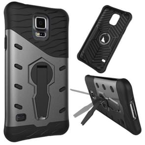 For Samsung Galaxy S5 / G900 Shock-Resistant 360 Degree Spin Tough Armor TPU+PC Combination Case with Holder(Black)