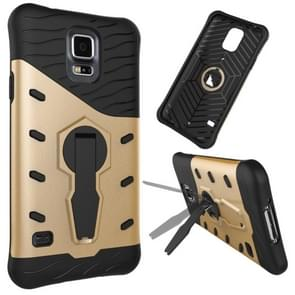 For Samsung Galaxy S5 / G900 Shock-Resistant 360 Degree Spin Tough Armor TPU+PC Combination Case with Holder(Gold)