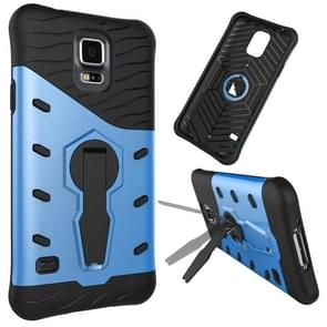 For Samsung Galaxy S5 / G900 Shock-Resistant 360 Degree Spin Tough Armor TPU+PC Combination Case with Holder(Blue)
