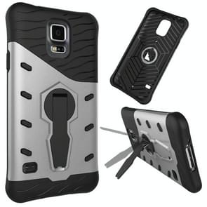 For Samsung Galaxy S5 / G900 Shock-Resistant 360 Degree Spin Tough Armor TPU+PC Combination Case with Holder(Silver)