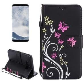 For Samsung Galaxy S8 Painted Butterfly Pattern Horizontal Flip Leather Case with Holder & Card Slots & Wallet & Lanyard (Black)