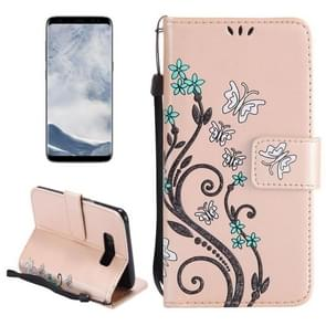 For Samsung Galaxy S8 Painted Butterfly Pattern Horizontal Flip Leather Case with Holder & Card Slots & Wallet & Lanyard (Gold)