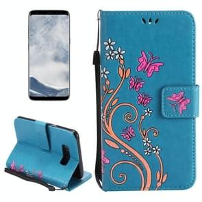 For Samsung Galaxy S8 Painted Butterfly Pattern Horizontal Flip Leather Case with Holder & Card Slots & Wallet & Lanyard (Blue)