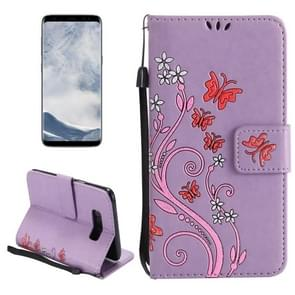 For Samsung Galaxy S8 Painted Butterfly Pattern Horizontal Flip Leather Case with Holder & Card Slots & Wallet & Lanyard (Purple)