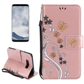 For Samsung Galaxy S8 Painted Butterfly Pattern Horizontal Flip Leather Case with Holder & Card Slots & Wallet & Lanyard (Rose Gold)