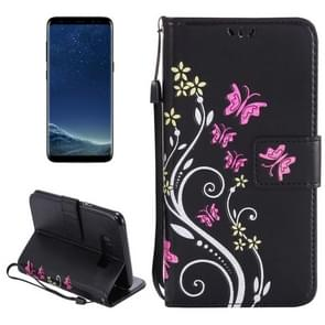 For Samsung Galaxy S8 + / G9550 Painted Butterfly Pattern Horizontal Flip Leather Case with Holder & Card Slots & Wallet & Lanyard (Black)
