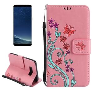 For Samsung Galaxy S8 + / G9550 Painted Butterfly Pattern Horizontal Flip Leather Case with Holder & Card Slots & Wallet & Lanyard (Pink)