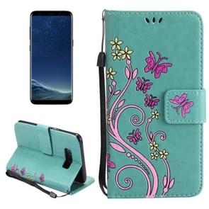 For Samsung Galaxy S8 + / G9550 Painted Butterfly Pattern Horizontal Flip Leather Case with Holder & Card Slots & Wallet & Lanyard (Green)
