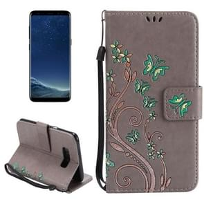 For Samsung Galaxy S8 + / G9550 Painted Butterfly Pattern Horizontal Flip Leather Case with Holder & Card Slots & Wallet & Lanyard (Grey)