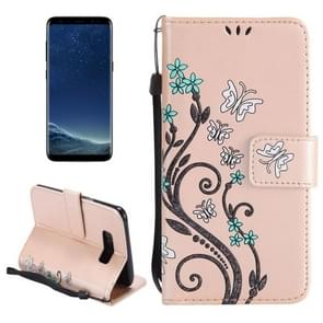 For Samsung Galaxy S8 + / G9550 Painted Butterfly Pattern Horizontal Flip Leather Case with Holder & Card Slots & Wallet & Lanyard (Gold)
