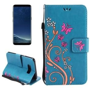 For Samsung Galaxy S8 + / G9550 Painted Butterfly Pattern Horizontal Flip Leather Case with Holder & Card Slots & Wallet & Lanyard (Blue)