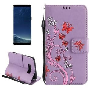 For Samsung Galaxy S8 + / G9550 Painted Butterfly Pattern Horizontal Flip Leather Case with Holder & Card Slots & Wallet & Lanyard (Purple)