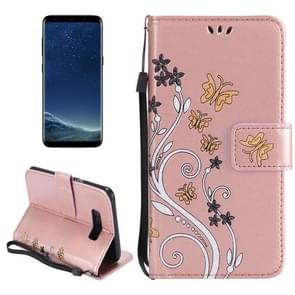 For Samsung Galaxy S8 + / G9550 Painted Butterfly Pattern Horizontal Flip Leather Case with Holder & Card Slots & Wallet & Lanyard (Rose Gold)