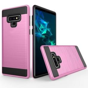 Brushed Texture Shockproof Rugged Armor Protective Case for Galaxy Note 9(Pink)