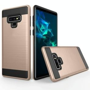 Brushed Texture Shockproof Rugged Armor Protective Case for Galaxy Note 9(Gold)