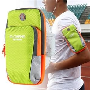 FLOVEME Universal Sport Nylon Armband Case ,Suitable for Smartphones Below 6 Inch (Fluorescent Green Light)