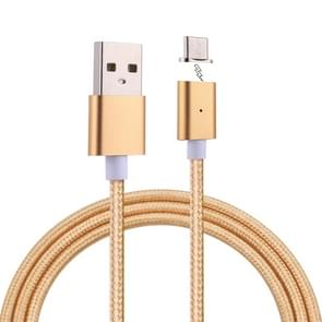 1m Weave Style 2A Magnetic USB-C / Type-C to USB Weave Style Data Sync Charging Cable with LED Indicator, For Samsung Galaxy S8 & S8 + / LG G6 / Huawei P10 & P10 Plus / Xiaomi Mi6 & Max 2 and other Smartphones (Gold)