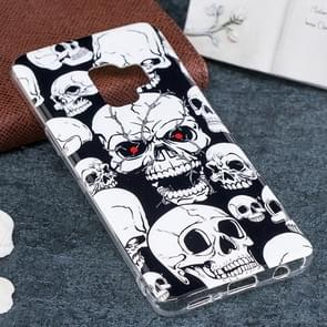 Voor Samsung Galaxy S9 Noctilucent rood Eye Skull patroon TPU Soft Back hoesje beschermings Cover