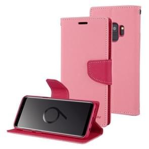 MERCURY GOOSPERY FANCY DIARY voor Samsung Galaxy S9 Kruis structuurhorizontaal Flip lederen hoesje met opbergruimte voor pinpassen & portemonnee & houder(roze)