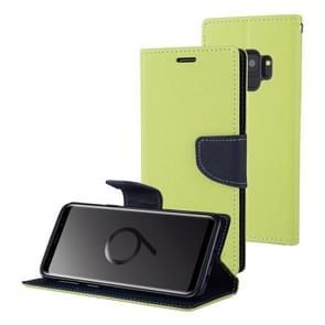 MERCURY GOOSPERY FANCY DIARY voor Samsung Galaxy S9 Kruis structuurhorizontaal Flip lederen hoesje met opbergruimte voor pinpassen & portemonnee & houder(groen)