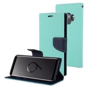 MERCURY GOOSPERY FANCY DIARY voor Samsung Galaxy S9 Kruis structuurhorizontaal Flip lederen hoesje met opbergruimte voor pinpassen & portemonnee & houder(Mint Green)