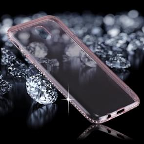 For Samsung Galaxy J3 (2017) (EU Version) Diamond Border TPU Transparent Protective Back Cover Case (Pink)