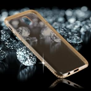 For Samsung Galaxy J3 (2017) (EU Version) Diamond Border TPU Transparent Protective Back Cover Case (Gold)