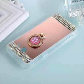 For Samsung Galaxy J5 (2017) (US Version) Diamond Encrusted Electroplating Mirror Protective Cover Case with Ring Holder(Rose Gold)